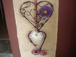 Wire hearts and flower